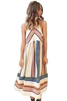 9be527a99308 Apricot Striped Bohemian Fashion Midi Dress
