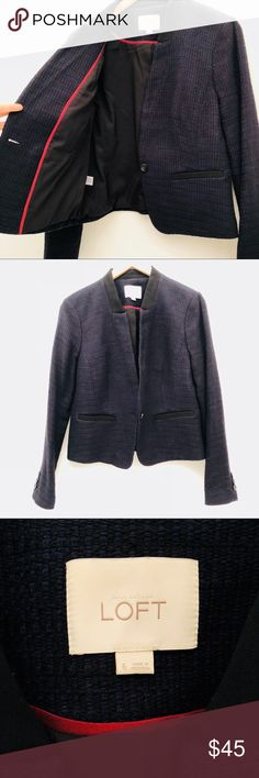 """LOFT Navy Blazer EUC 6 Excellent Condition! No issues! Super cool! Bust:20"""" Length:25"""" Sleeeves:24"""" LOFT Jackets & Coats Blazers"""