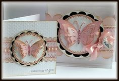 I am RESHARING! :) the altered clear box I made. because I got the matching card done! :) Supplies- PTI clear box (the o. Pretty Cards, Cute Cards, Diy Cards, Paper Butterflies, Butterfly Cards, Beautiful Butterflies, Pink Butterfly, Theme Bapteme, Copics