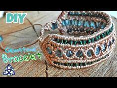 Green Macrame Beaded Bracelet Tutorial - Easy Macrame Craft Idea - YouTube
