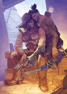 Temple of Anubis Art Print by Koettboid - X-Small Overwatch Hanzo, Overwatch Comic, Overwatch Memes, Overwatch Fan Art, Temple Of Anubis, Hugs, Hanzo Shimada, Gay Comics, Gay Art