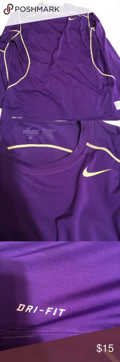 Nike long sleeve Nike long sleeve Purple and green  Dri fit Pro combat Size L In good condition Nike Shirts Tees - Long Sleeve
