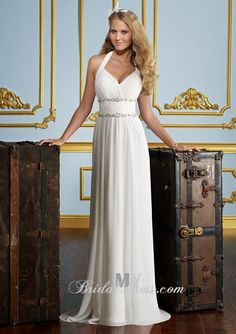 Description: Sleeveless chiffon soft A-Line gown with hand-beaded spaghetti halter  straps adorned with sparkling beads, V-Neckline and low dipped V-back  bodice with covered buttons and matching beaded trim, directionally  ruched bodice with beaded jeweled motif, finely gathered skirt, chapel  length train. (Note: Only dress included in original sell, veil, necklace and other accessories not included)…