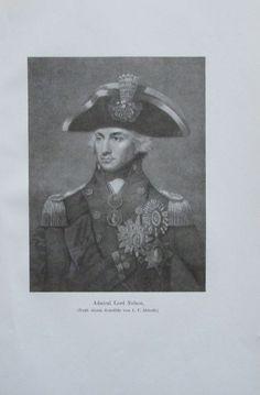 ADMIRAL LORD NELSON 1914 Porträt Abbott alter Druck antique Print Lithographie