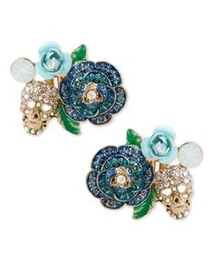 Betsey Johnson Gold-Tone Blue Glitter Rose and Skull Clip-On Earrings