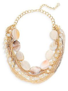 Natasha Beaded Chain Collar Necklace - Gold - Size No Size