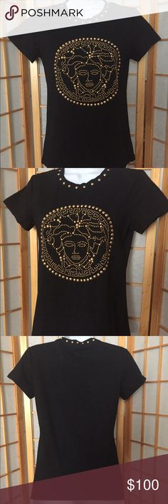 "Versace Medusa Studded T-Shirt Sz S, M New Versace Medusa crew-neck T-shirt, short sleeves, Sz S, M.  NEW - FROM THE WAREHOUSE- NO RETAIL TAGS. Golden studs around the neck and a golden studded Medusa on front. Length Sz S 22"",  length Sz M 23"". Authentic. The material is stretching. GREAT FOR A NIGHT OUT. REASONABLE OFFERS ACCEPTED. Versace Tops Tees - Short Sleeve"