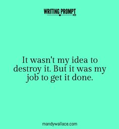 Writing prompt: It wasn't my idea to destroy it. But it was my job to get it done.