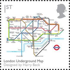 Royal Mail Special Stamps | British Design Classics London Underground Map. Designed by Harry Beck