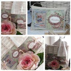 coussin & étiquettes linge PUB fleuri