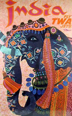 1960 TWA India Elephant Travel Poster by Retro Graphics Art Vintage, Vintage India, Vintage Art Prints, Vintage Travel Posters, Vintage Style, Vintage Canvas, Vintage Artwork, Vintage Pink, A4 Poster