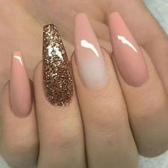 """If you're unfamiliar with nail trends and you hear the words """"coffin nails,"""" what comes to mind? It's not nails with coffins drawn on them. Although, that would be a cute look for Halloween. It's long nails with a square tip, and the look has. Cute Acrylic Nails, Glitter Nails, Cute Nails, Pretty Nails, My Nails, Pink Glitter, Faded Nails, Pink Ombre Nails, Prom Nails"""