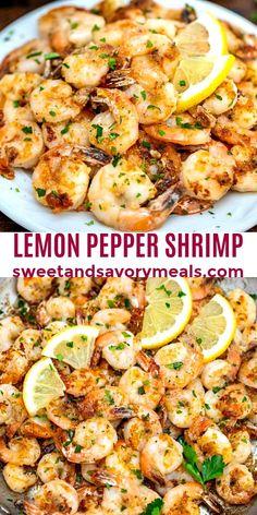 Lemon Pepper Shrimp is a versatile appetizer or meal that is bursting with freshness! Baked Shrimp Recipes, Shrimp Recipes For Dinner, Seafood Recipes, Cooking Recipes, Chicken Recipes, Meals With Shrimp, Simple Shrimp Recipes, Lemon Recipes Dinner, Mini Pizza Recipes