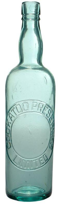 Cockatoo Preserves Limited (Collingwood, Melbourne). Antique cordial bottle. c1910s