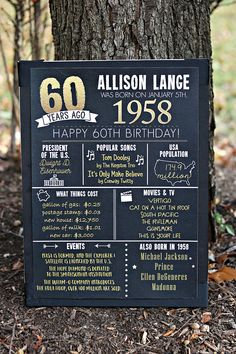 Let us add a CHARMING TOUCH to your event with our Adult Birthday Party Decoration This listing includes the following CUSTOM MADE items: 1. It Happened in 1958 Board (choose size at checkout) Professionally Printed and shipped to you (Or Choose the Digital File and Print