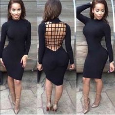 Cage Back Dress •Sleek & Sexy black long sleeve Bodycon dress, open caged back has a really soft inside lining that will keep you warm•  New without Tags   Your purchase will ship the next day  Bundle & Save  Not from listed brand, just using for exposure Boutique Dresses Midi