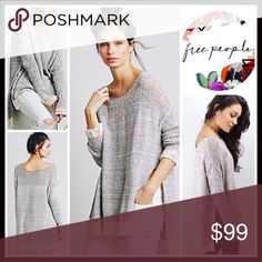 """FREE PEOPLE PULLOVER Crochet Trim Sweater FREE PEOPLE Sweater Pullover  💟NEW WITH TAGS💟  * A relaxed, oversized & slouchy fit * Incredibly soft & lightweight  * Allover knit fabric w/ pointelle details, & crochet trim * Approx 26-28"""" long, Hi-lo hem * Round neck, long sleeves w/crochet cuffs, & side vents   Fabric: 81% COTTON, polyester, nylon, linen  Color: Ivory Combo Item# SEARCH # Boyfriend Boxy Oversized loose Knit 🚫No Trades🚫 ✅ Offers Considered*/Bundle Discounts ✅  *Please use the…"""