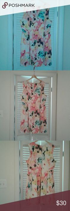 Plus size floral dress Romantic,  sleeveless, water color floral design. Classy zipper for easy on. Fit and flare , hits mid knee. Worn once. Has been dry cleaned. Worthington Dresses Midi