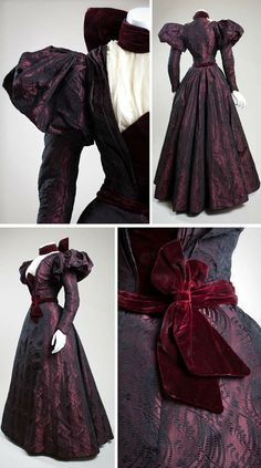 Afternoon dress ca. 1897. Silk brocade, velvet, chiffon. Made and worn by Ora Baily McCuthen, a concert pianist in San Diego. She was the daughter of James O. Baily, one of the first men to discover gold in the Julian area and one of the founders of Banner, California.