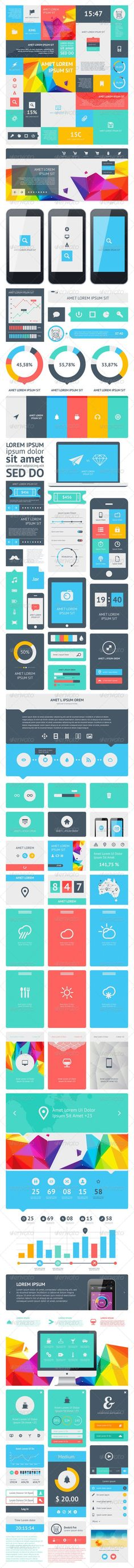 Vectors - UI Set Components Featuring Flat Design |