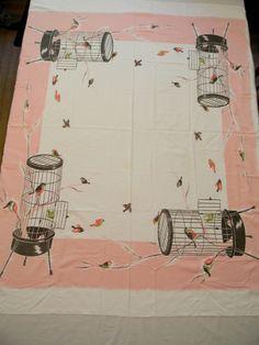 Vintage California Hand Prints Tablecloth PINK & Black Bird Cage 52 x…