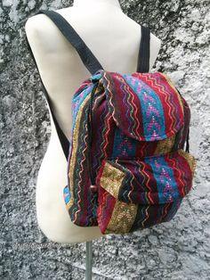 Boho Backpack Ethnic Aztec Printed Tribal by TribalSpiritShop