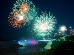 Niagara Falls Fireworks - Niagara Falls at Night