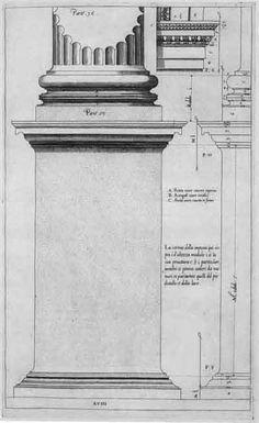 Jacopo Barozzi da Vignola (1507-1573), 'Regola delli Cinque Ordini d'Architettura', Rome 1562; Plate XVIII: Ionic Order, Pedestal and Column Base.