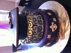 3 tier graduation cake: top tier is cake too!  Royal icing piping on 2nd tier  Bottom tier has hand-cut fleur de lis!