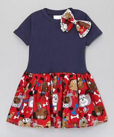 This Blue & Red Puppy Drop-Waist Dress - Toddler & Girls by Carolina Kids is perfect! #zulilyfinds