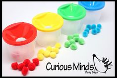 Busy Bag - Color Sorting Pots with Poms - Toddler color sorting busy bag with funnel pots perfect for a quiet time activity