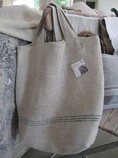 sac lin, brocante, chanvre, lin, linen