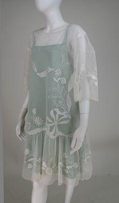 1920s Gatsby era embroidered tulle tea/wedding dress