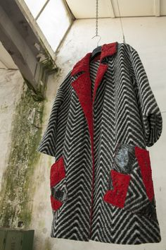 #handmade coat in wool jersey with 100% wool lapel facing