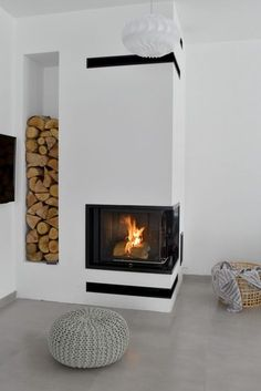 Home Fireplace, Modern Fireplace, Fireplace Design, Interior Architecture, Interior Design, Pellet Stove, Love Your Home, Firewood, Sweet Home