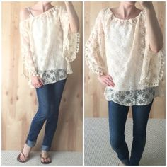 Ivory Boho Off-Shoulder Lace Top Brand new with tags. Gorgeous Ivory lace top with tassle trim and oversized sleeves. Such beautiful detailing. Can be worn on or off sounder. Oversized fit. Will be a perfect beach or pool day top! Can use as cover up or wear to brunch! Just lovely! Modeling small. Available in small or large. Tops
