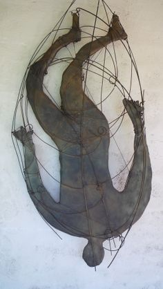 "Cast Glass - figurative fuse/cast glass and bronze wire, 24"" x 36"" ""Falling Angels"" inspiring hope"