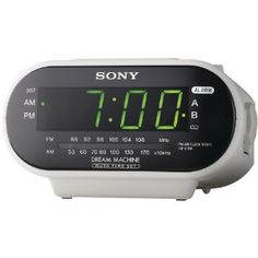 """NEW SONY ICFC318WHITE AM/FM ALARM CLOCK RADIO -WHITE-WATCHES and CLOCKS by Sony. $22.18. .9"""" GREEN LED DISPLAY; AM/FM TUNER; DUAL ALARMS WITH ALARM INDICATORS; WAKE TO RADIO OR BUZZER; EXTENDABLE SNOOZE EACH PRESS TO SNOOZE BAR ADDS ADDITIONAL 10 MIN TO SNOOZE TIME; ATS (AUTOMATIC TIME SET); ADST (AUTOMATIC DAYLIGHT SAVINGS ADJUSTMENT); BUILT-IN CALENDAR; SPACE-SAVING DESIGN; LITHIUM BATTERY FOR BACKUP; DIM: 3.31""""H X 6.13""""W X 5.94""""D; WEIGHT: 1.13 LBS; WHITE"""