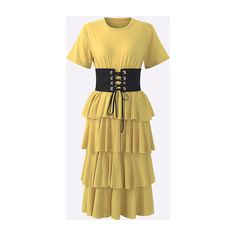 Yoins Tiered Design Corset T-shirt Dress in Yellow (330 MAD) ❤ liked on Polyvore featuring dresses, sexy dresses, long-sleeve midi dresses, yellow midi dress, yellow t shirt dress and sexy corset dresses