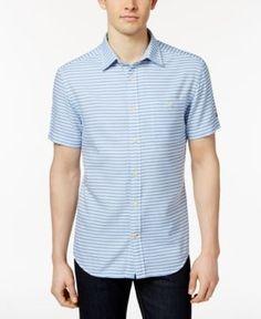 Tommy Hilfiger Men's Lister Striped Cotton Shirt - Blue M