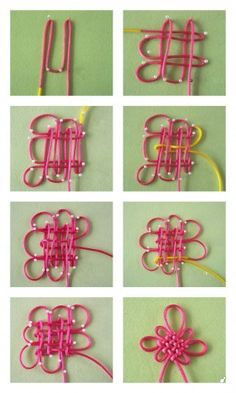 """Panchang Knot is so popular that many people think it is """"the Chinese Knot. Actually it is only a typical knot genre in Chinese knotting. A basic Panchang Knot consists of 8 loops and 8 ears. Macrame Knots, Micro Macrame, How To Do Macrame, The Knot, Macrame Tutorial, Bracelet Tutorial, Celtic Knot, Diy Flowers, Crocheted Flowers"""