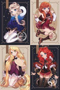 Prinzessinnen als Anime-Figuren - disney - - Mara E. Prinzessinnen als Anime-Figuren - disney - - Anime Disney Princess, Disney Princess Drawings, Disney Drawings, Drawing Disney, Elsa Drawing, Disney Anime Style, Cinderella Princess, Drawing Girls, Princess Merida