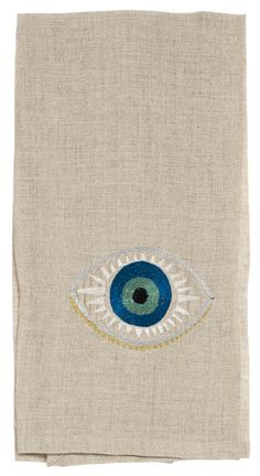 Coral & Tusk embroidered Evil Eye Linen Tea Towel