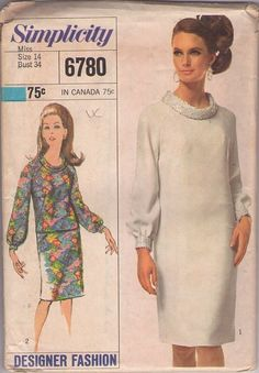 Simplicity 6780 Misses' One or Two-Piece Dress, Designer Fashion Sewing Pattern, Vintage 1966 Mother of the Bride, Wedding Simplicity Sewing Patterns, Vintage Sewing Patterns, Clothing Patterns, Dress Patterns, Costume Patterns, Blouse Vintage, Vintage Dresses, Vintage Clothing, Vintage Outfits