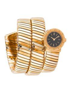 Ladies' 18K yellow, white and rose gold 19mm #Bvlgari Tubogas quartz #watch