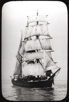 The sailing ship Barquetine laThis black and white photograph was taken in the late nineteenth century between 1850 and 1899. A Barquentine type of vessel with the characteristic three masts clearly showing. Sailors can be seen at the bow of the ship. 1800s by Newcastle Libraries.