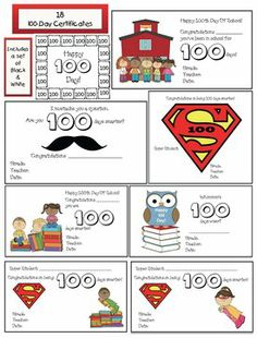 100 Day activities: 18 FREE 100-Day certificates. Includes a set in black and white too. :-)