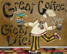 Art Print 8x10 Great Coffee Great Life by studiopetite on Etsy, $18.00