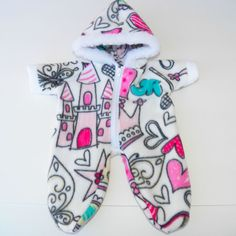 bitty baby clothes doll girl 15 twin snowsuit white pink heart castle handmade #15INCHBITTYBABY #ClothingShoes