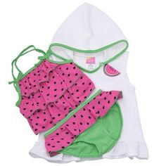 Sol Swim Baby Girls Pink Dotted 3 Piece Tankini Swimsuit Cover Up Set 18M